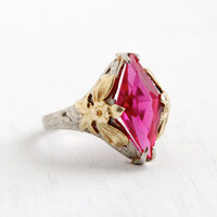 Antique 10k White and Yellow Gold Pink Ruby Ring- Vintage Art Deco 1920s 1930s Filigree Floral Bow Shoulders Fine Jewelry