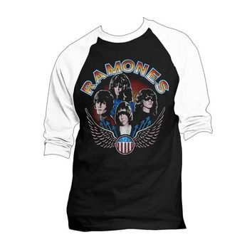 Featuring super soft cotton tee with The Ramones Vintage '74 Wings Photo Print on front, black color body with white color three quarter length sleeves, around neckline.