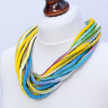 Multicolor pastel fiber necklace in twisted style - colorful, multi strand, felt, wool necklace - multistrand rope jewelry [N117]