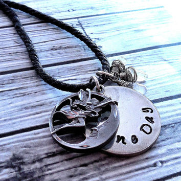 Pewter Add Your Own Secret Message Fairy Pendant With Personalized Message Hidden On Pewter Pendant Behind Fairy Sitting On The Moon