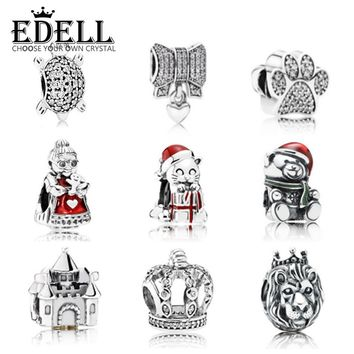 EDELL100% Genuine 925 Sterling Silver Pattern people Clear CZ Charm Fit Beads Charms Bracelet DIY Pendants Genuine Jewelry