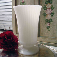 Vintage Milk Glass Vase, Shabby Chic White Flower Vase, Cottage Chic, Ribbed Milk Glass Vase