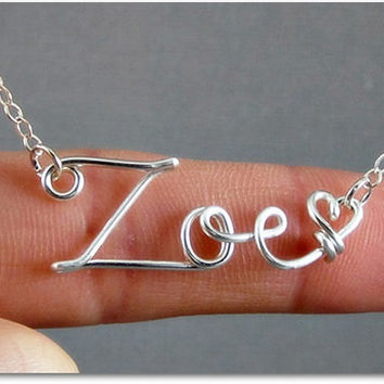FREE SHIPPING!!!!  Zoe Wire Word Name Pendant Necklace