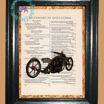 Steampunk Motorcycle Art - - Vintage Dictionary Book Page Art-Upcycled Page Art,Wall Art,Home Decor,Mixed Media Art - Motorcycle Print