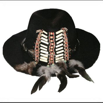 Tribal Festival Hat Black Wide Brim Fedora Indian Hairpipe Beads Silver Conchos Natural Feathers Handmade One Of A Kind