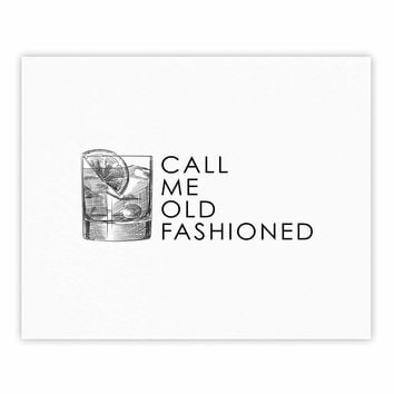 Old Fashioned - Black White Vintage Typography Digital Fine Art Gallery Print