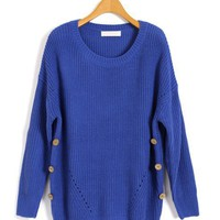 Blue Batwing Chunky Knit Tops