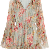Zimmermann - Mercer Floating ruffled floral-print silk-chiffon playsuit