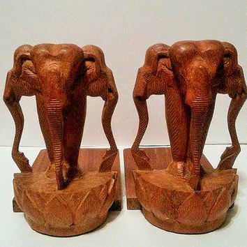 Vintage Hand Carved 3 Head Elephant Book Ends Sculpture Made In Thailand Jungle Figurine Safari