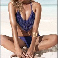 Sexy Fringed Tassel Triangle Bikini Halter Top + Bottom Swimwear Swimsuit Bathing Suit