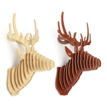 Excellent 3D Puzzle Wooden DIY Model Wall Hanging Deer Head