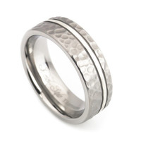 Silver stripe inlaid Hammered finish titanium ring for Men