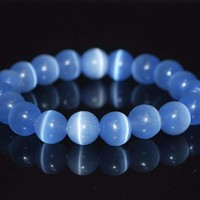 Light Blue Mexican Opal Tiger Eye Gemstone Unisex / Men's Bracelets