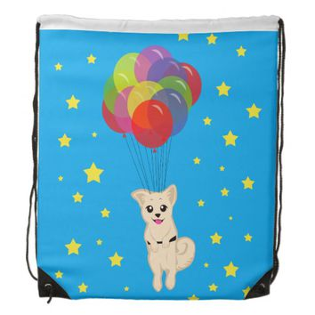 Puppy with Balloons Cinch Bags