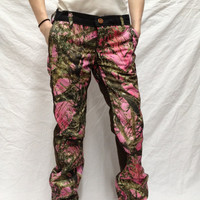 pink camo ladies womens custom made heavy duty outdoor pants
