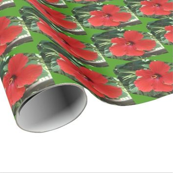 hibiscus red gift wrapping paper