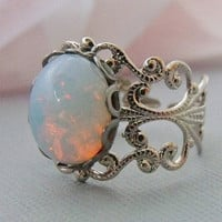White Opal Ring With Rhodium Plated Filigree by pinkingedgedesigns