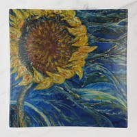 Sunflower Blown Blue Art Trinket Tray