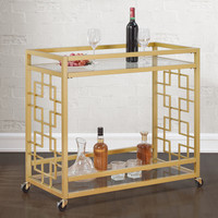 Goldtone Metal Bar Cart | Overstock.com Shopping - The Best Deals on Bars