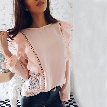 VONE05F8 New 2018 Spring Summer Lady Fashion Lace Stitched Hollow Out Chiffon Blouse Sexy Tops O-Neck Long Sleeve Ruffles Causal Shirts