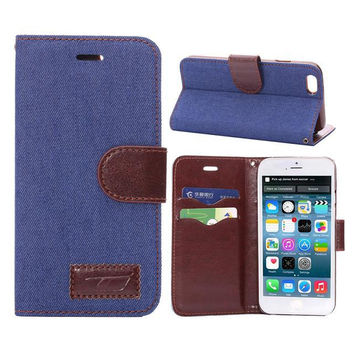 Unique Blue Denim Leather Card Hold Wallet Cases Cover for iPhone 5S 6 6S Plus Samsung Galaxy S6 Hight Quality