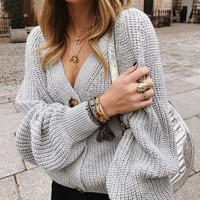 Sexy v-neck knitted women cardigan Casual buttons bat sleeve white sweater cardigan Elegant ladies sweaters tops