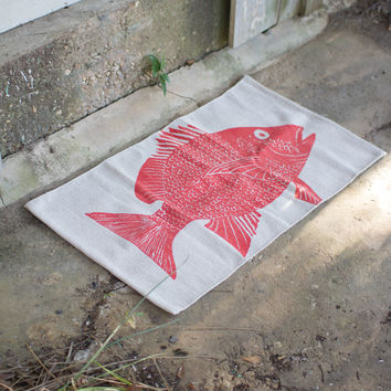 Cotton Painted Rug - Red Fish