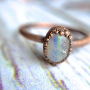Rainbow moonstone ring | Simple stone stacking ring | Tiny moonstone stacking ring | Electroformed mineral jewelry | Organic stone jewelry