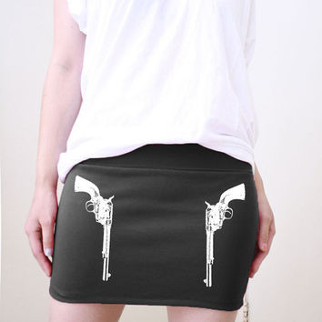 Colt 45 Double Side Gun Womens Mini Skirt Screenprint available in size S, M, L