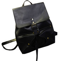 Black Preppy Chic Faux Leather Backpack