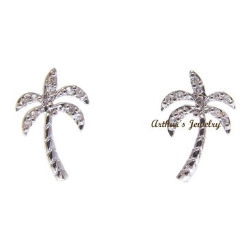 SOLID 14K WHITE GOLD HAWAIIAN PALM TREE DIAMOND STUD POST EARRINGS