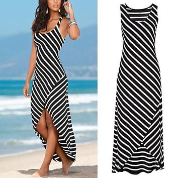 Women Summer Sexy Striped Long Dress 2016 Fashion Casual Black White Sleeveless Split Maxi Beach Party Dresses Female Vestidos