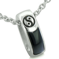 Balance Yin Yang Double Sided Lucky Charm Ring Amulet Simulated Black Onyx Pendant 22 Inch Necklace