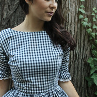 GRETEL Vintage Checkered Party Dress Black and White with Lace Trim 1950's Knee Length