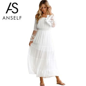 Anself Sexy Women Maxi Long Dress Off the Shoulder Crochet Lace Flare Sleeve Beach Dress Elegant Evening Party Boho Dress White