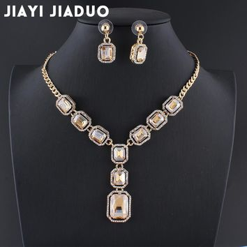 jiayijiaduo Bridal Wedding Party Jewelry parure bijoux femme gift jewellery sets for women Gold color yellow crystal necklace