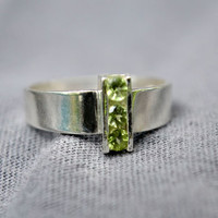 Channel Set Peridot Ring, Three-Stone Sterling Silver Ring, August Birthstone, Peridot Statement Ring