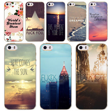 Cases For Apple iPhone 4 4S 5 5S 5C 6 6S 6Plus 6s Plus Soft TPU Silicon Case City Sea European Scenery Flowers Painted Cover
