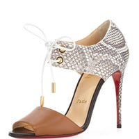 Christian Louboutin Mayerling Python & Leather Red Sole Sandal