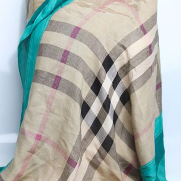 One-nice™ NEW Authentic Burberry $565 Kelly Green Haymarket Check Border WRAP SHAWL SCARF