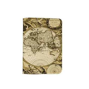 Vintage Old World Map [Name Customized] Leather Passport Holder - Passport Protector - Passport Cover - Passport Wallet_Mishkaa