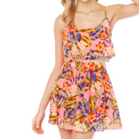 Floral Print Strappy Sleeveless Lace Cropped Dress