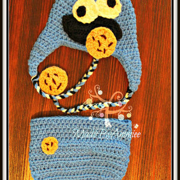 Cookie Eating Monster, Crochet Cookie Monster Toddler Hat And Shorts, Crochet Baby Cookie Eating Monster Set, Infant Cookie Hat and Shorts