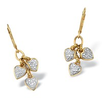 Diamond Accent 18k Gold over Sterling Silver Dangling Heart Charm Drop Earrings