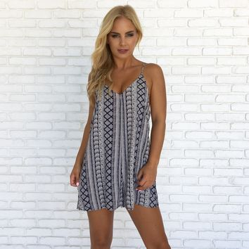 Summer Day Navy Print Romper