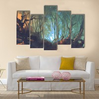 Dark Forest With Mystic Light Multi Panel Canvas Wall Art
