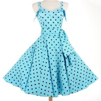 Downtown Dame Swing Dress in Baby Blue and Black Polka Dots