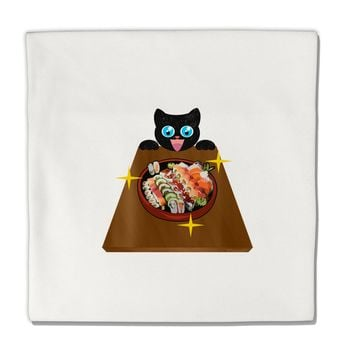 """Anime Cat Loves Sushi Micro Fleece 14""""x14"""" Pillow Sham by TooLoud"""