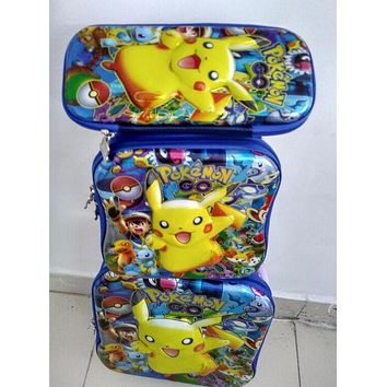 New 6D Pokemon go trolley luggage student travel suitcase sets (lunch box + pen boxes+trolley luggage ) kids luggage