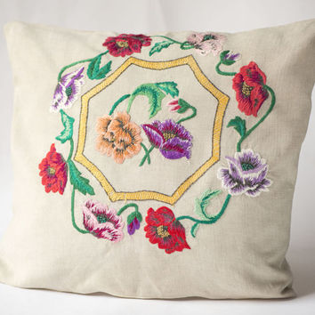 Vintage linen crewel embroidery pillow, floral embroidery pillow, 40s pillow sleeve poppies handmade pillowcase bedding home decor summer